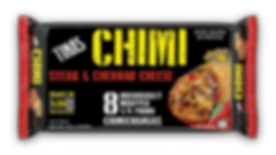 Tina's Steak and Cheese Chimi in an 8 count family pack 8 individually wrapped 1/4 pound chimi ready in 1 min and 20 secs in microwave
