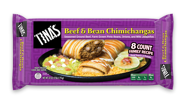 Tina's Beef and Bean Chimichangas 8 count multi pack made with seasoned ground beef, farm grown pinto beans, onions, mild jalapenos in a fresh baked tortillas