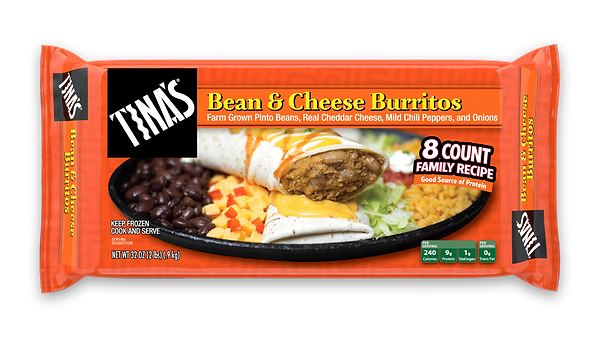 Tina's Bean and Cheese Burritos in an 8 count multi pack made from farm grown pinto beans, real cheddar cheese, mild chili peppers, onions in a fresh baked tortilla good source of protein