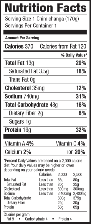 Nutrition Facts for Tina's Chicken & Cheddar Cheese Chimi 6oz