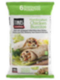 Tina's Cantina Handcrafted Chicken Burritos are a premium burrito with natural ingredients and a whole wheat tortilla. All natural grilled white meat chicken, cilantro lime rice, monterey jack cheese, corn salsa individually wrapped in a 6 count family pack available at WalMart Stores nationwide.