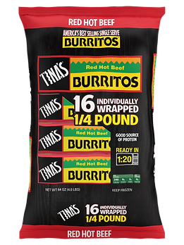 Tina's Red Hot Beef 16 count frozen burritos individually wrapped