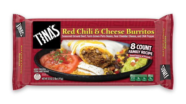 Tina's Red Chili and Cheese Burritos 8 count multi pack made with seasoned ground beef, farm grown pinto beans, real cheddar cheese, chili peppers in a fresh baked tortilla