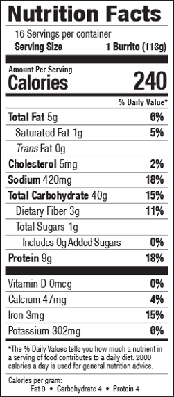 Nutrition facts for Tina's Bean & Cheese 16 count frozen burritos individually wrapped