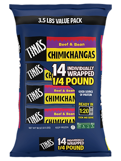 Tina's Beef and Bean Chimichangas 14 count individually wrapped