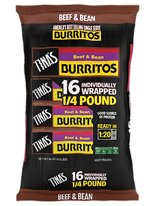 Tina's Beef & Bean 16 count fronzen burritos individually wrapped