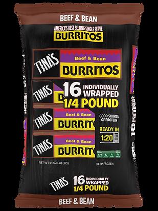 Tina's Beef & Bean Burritos 16ct