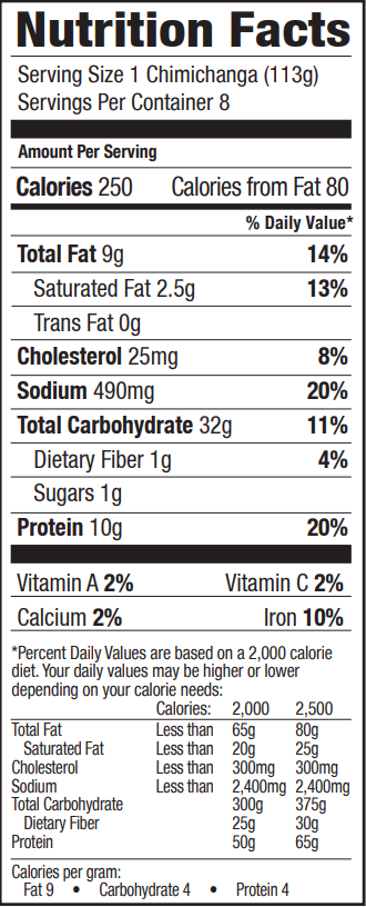 Nutrition Facts for Tina's Chicken & Cheddar Cheese Chimi 8 count Individually Wrapped