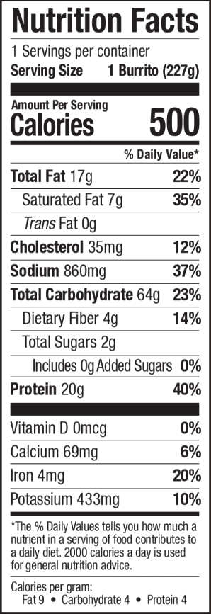 Nutrition facts for Tina's Cheesy Bean Enchilada Max Burrito