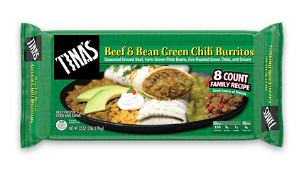 Tina's Beef & Bean Green Chili Multi Pack Frozen Burritos