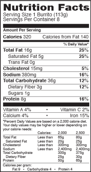 Nutrition Facts for Tina's Beef & Bean Family Pack frozen burritos