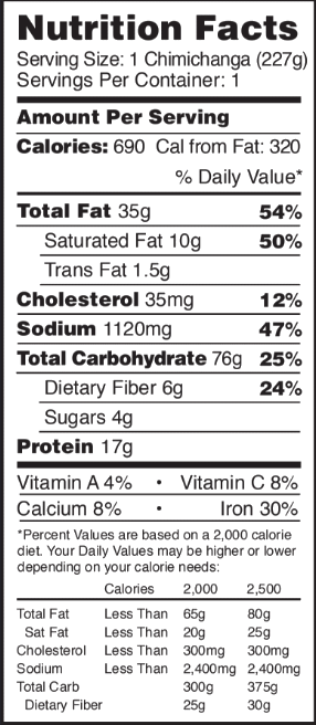 Nutritional facts for the Spicy Beef & Bean Deli Big Chimichanga