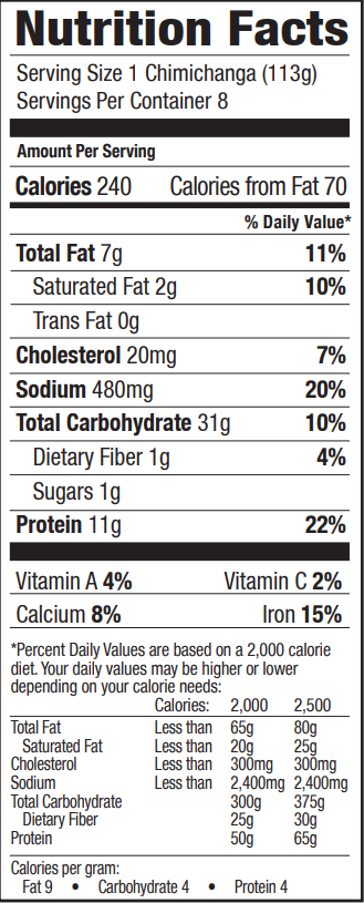 Nutrition facts for Tina's Steak & Cheddar Cheese Chimi 8 count Individually Wrapped