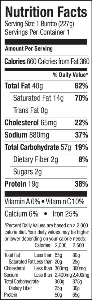 Nutrition facts for Tina's Santa Fe Max Burrito