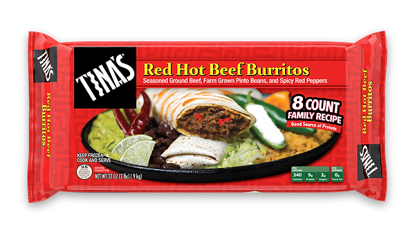 Tina's Red Hot Beef Burritos 8 count multi pack made with seasoned ground beef, farm grown pinto beans, spicy red peppers in a fresh baked tortilla
