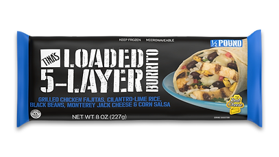 Tina's Loaded 5-Layer frozen burrito with real cheese quick and easy meal