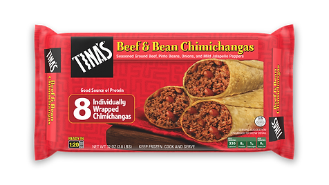 Tina's Beef & Bean Chimichangas 8ct Individually Wrapped