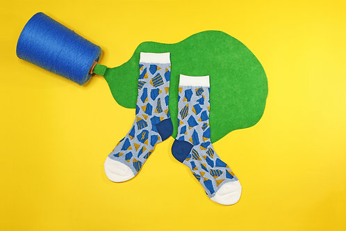 Stone Steps Unisex Crew Socks / Blue