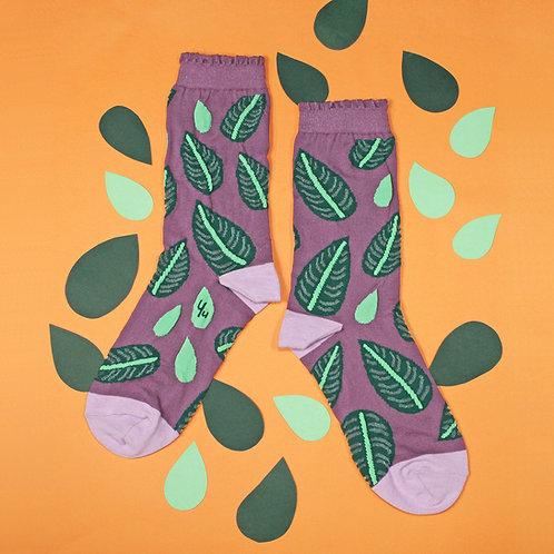 Pinstripe Plant Nylon Socks / Plum Purple