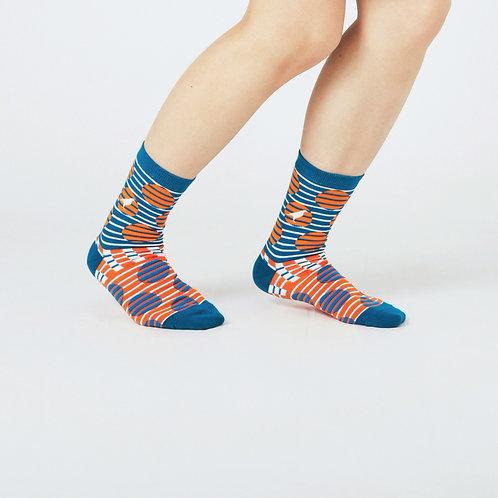 Striped Dots Unisex Crew Socks / Blue/Orange / Yu Square x inBlooom