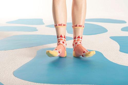 Lopi Sweater Transparent Sheer Socks / Salmon