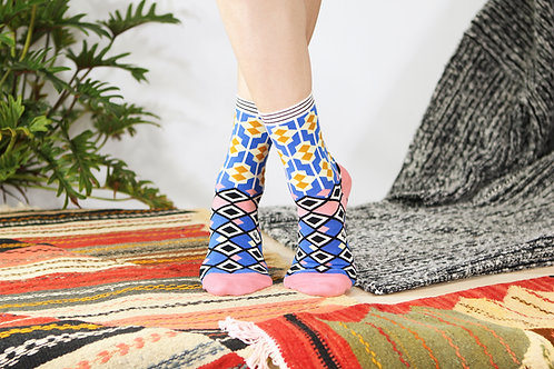 Moroccan Tile Unisex Crew Socks / Blue