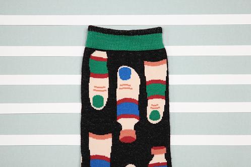 Fingerpaint Unisex Crew Socks / Black