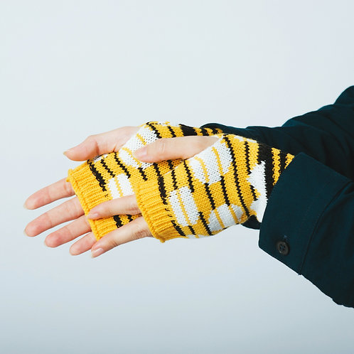 Striped Dots Black/Yellow Knitted Fingerless Mittens / Yu Square x inBlooom