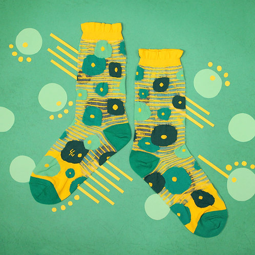 Coin Plant See-through Sheer Socks / Yellow