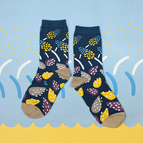 African Hosta Unisex Crew Socks / Denim