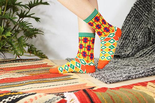 Moroccan Tile Unisex Crew Socks / Amber