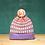 Thumbnail: Lavender Checked Stripes Detachable Pompom Beanie