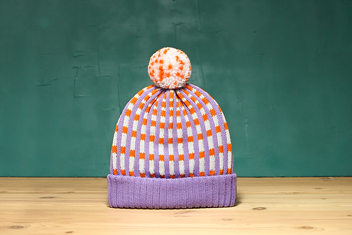 Lavender Checked Stripes Detachable Pompom Beanie