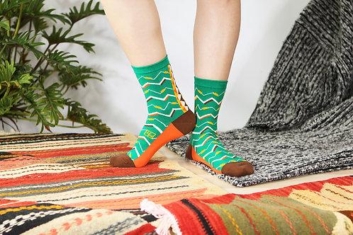 Zigzag Unisex Crew Socks / Jade