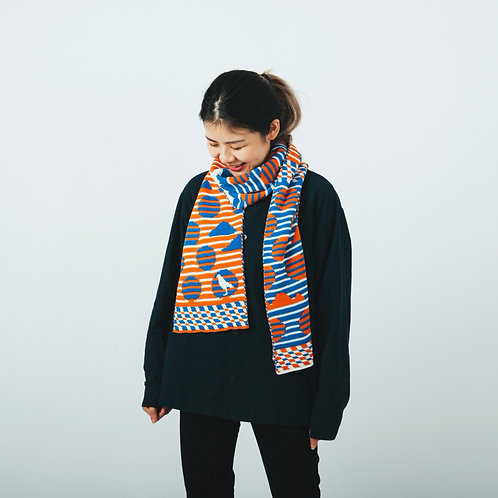 Striped Dots Blue/Orange Jacquard Knitted Scarf / Yu Square x inBlooom