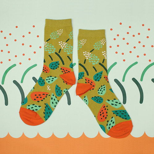 African Hosta Unisex Crew Socks / Wasabi