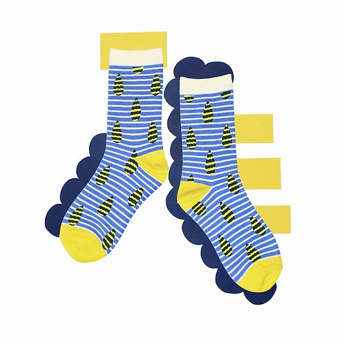 Raindrop Unisex Crew Socks / White
