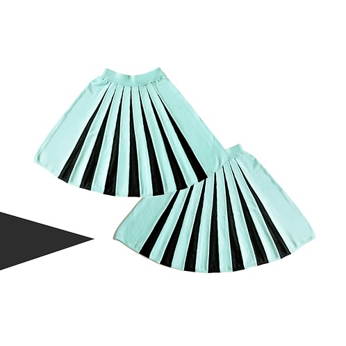 Mint Green Central Pleated Half Circle Skirt