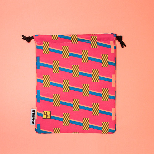 Towers Magenta Lined Digital Printed Drawstring Pouch