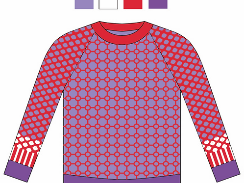 Customized Lavender/Red Circular Tile Sweater for Duolan