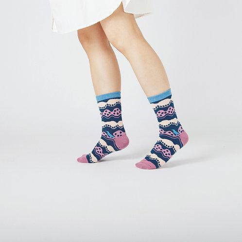 Wave Unisex Crew Socks / Navy / Yu Square x inBlooom