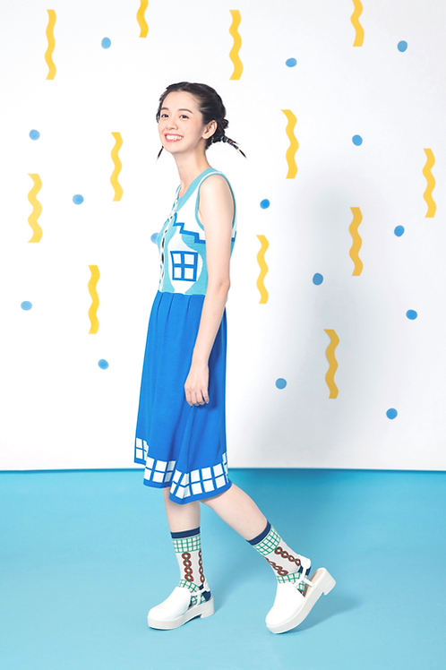 Vacation House Button Up Dress (sky blue)