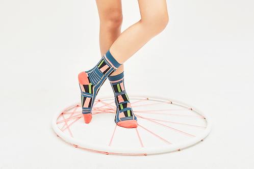 Ladders Transparent Sheer Socks / Dark Teal