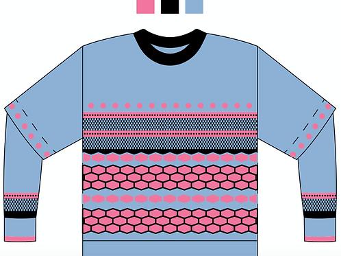 Handmade Sky Blue Honeycomb Sweater for Stuti