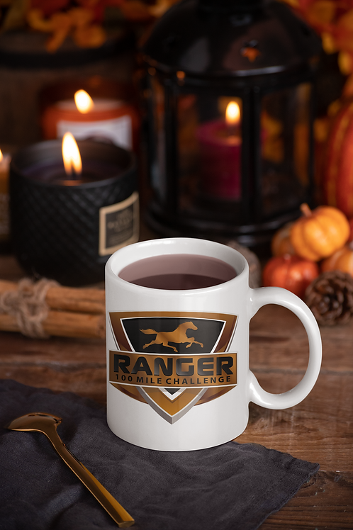 11 or 15 ounce RANGER 100 Mile Challenge Coffee Mug Glossy White