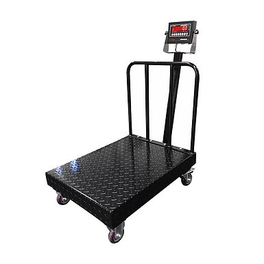PP-915-BW Diamond Plate Bench Scale with Wheels and Backrail