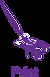 pictogramme pinceau representant Création et impression, flyer, brochure, textile, bache, carte commerciale osalys agence de communication