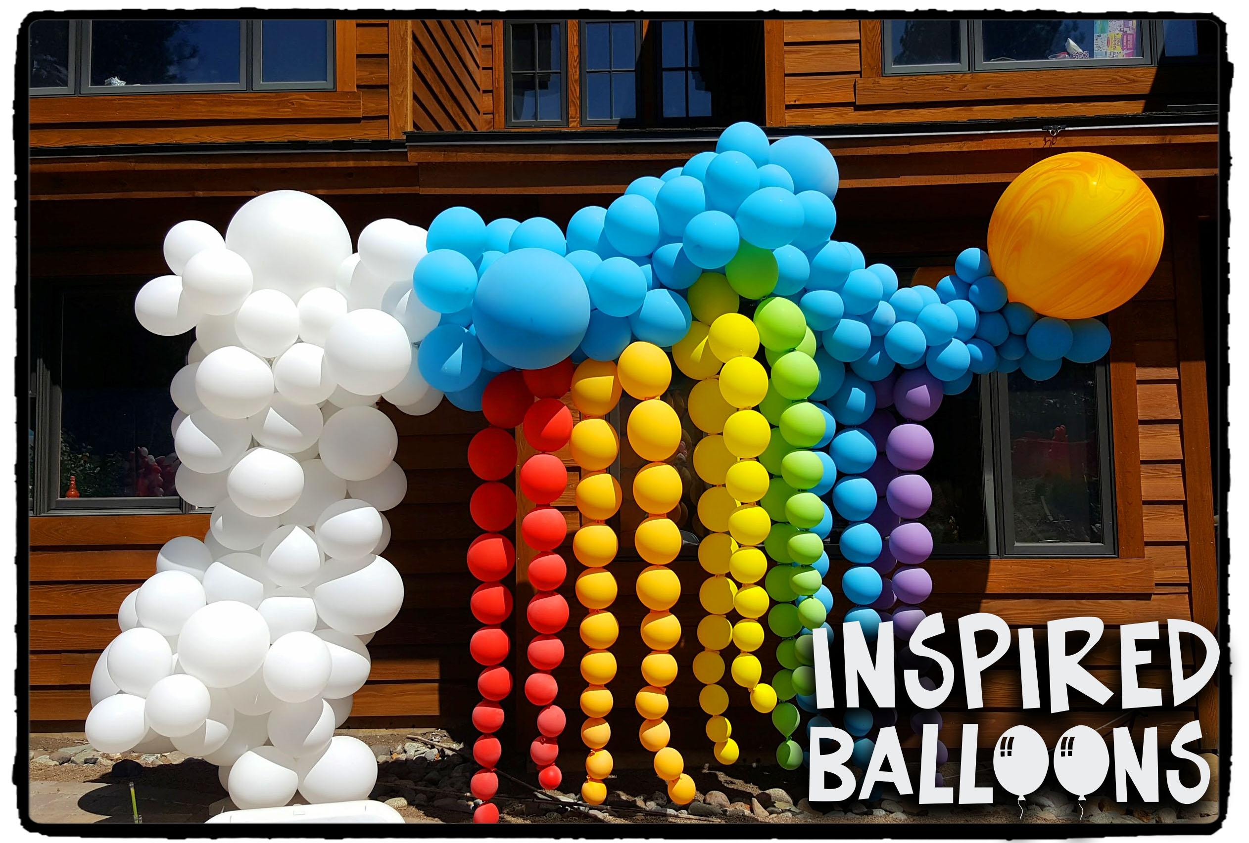 Organic Sky Rainbow Balloon Arch
