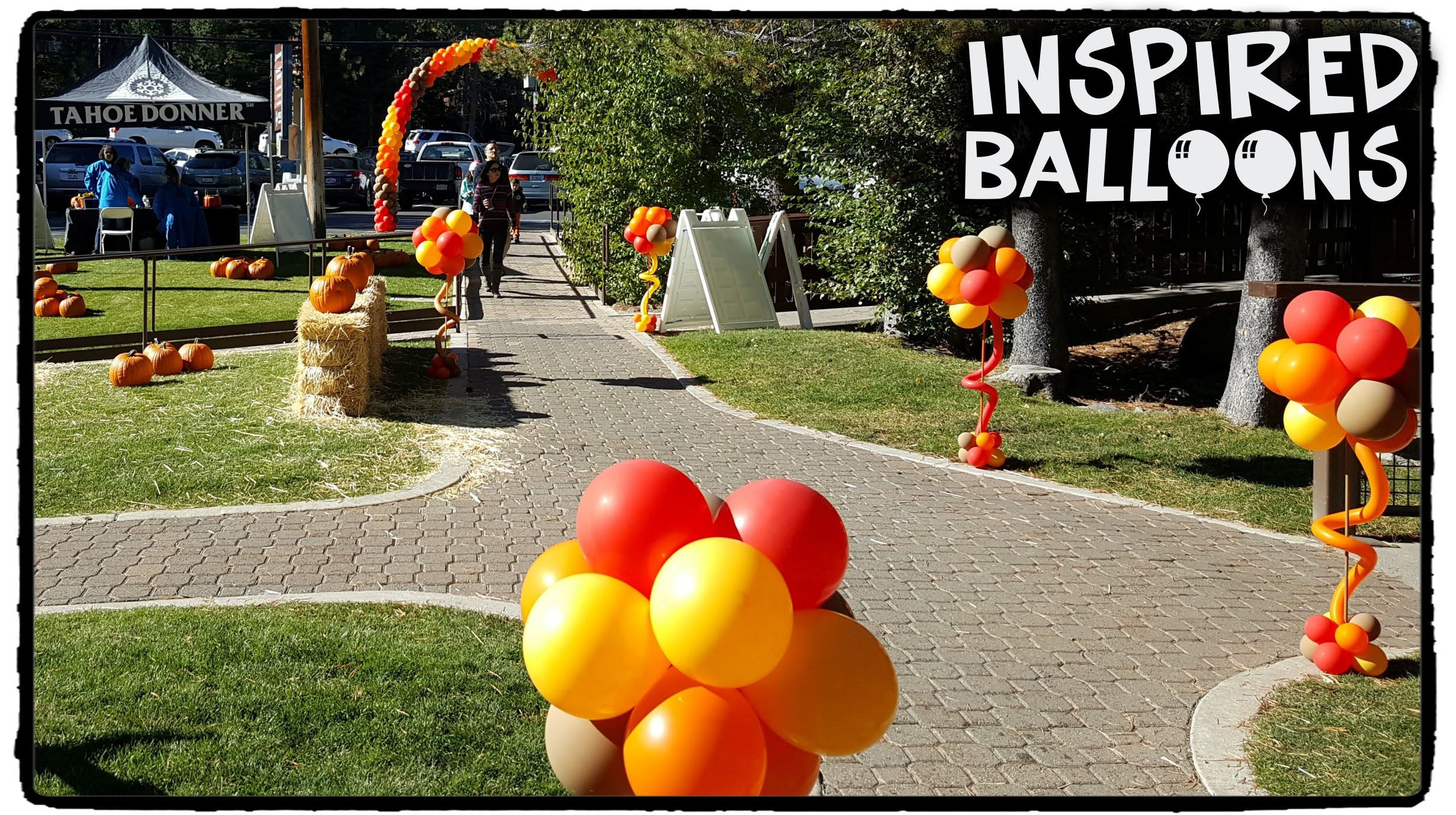 Fall Themed Balloon Topiaries