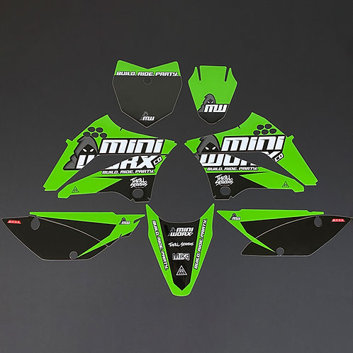 "MINIWORX Co ""Team"" Graphics Kit for Kawasaki KLX110 (2010-Present)"